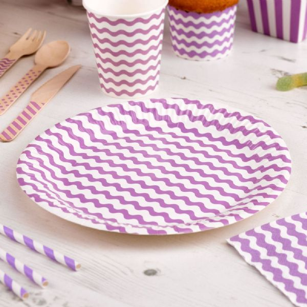 Carnival Purple Paper Plates - Waves (8)